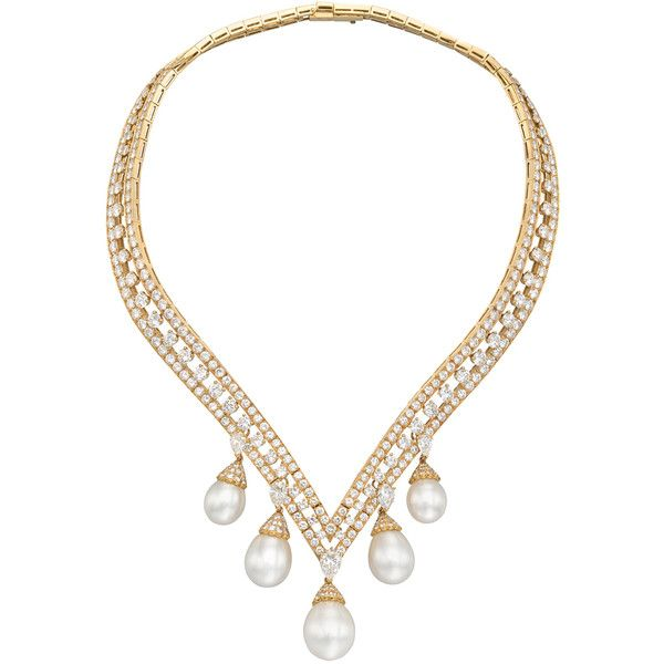 """Van Cleef & Arpels """"Lamballe"""" Diamond & Pearl Drop Necklace ❤ liked on Polyvore"""