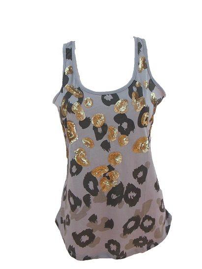 Top Leopardo  Camiseta con espalda nadadora. Estampado animal con pailletes en parte delantera.