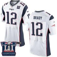 Men's New England Patriots #12 Tom Brady White Super Bowl LI Champions Nen Elite Jersey