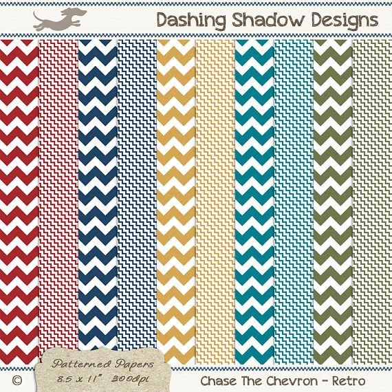 A4 Chase The Chevron in Retro Colours Digital Printable Scrapbook Craft Paper | Patterns: Chevron, Zig Zag. This instant download digital paper pack includes ten A4 papers with two different chevron designs in five retro colours which are exclusive to my A4 collection - Cherry, Navy, Amber, Turquoise and Thyme. All sheets have a very subtle and smooth texture, designed to look like paper you'd find in any good quality stationery store.