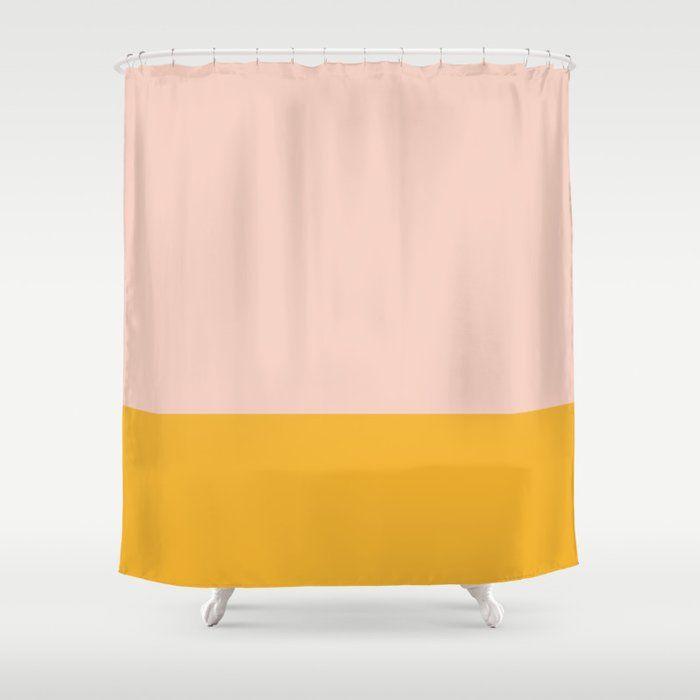Mustard Yellow Orange And Blush Pink Minimalist Color Block Shower
