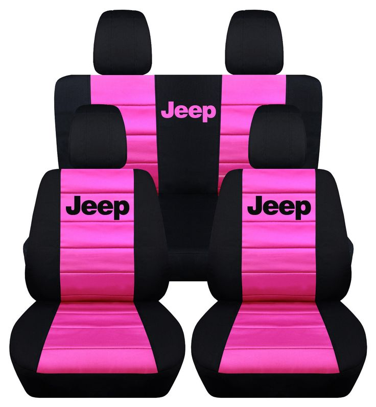 Front & Rear Black and Hot Pink Jeep Seat Covers 4Door Jeep Wrangler 2013-2016 | eBay