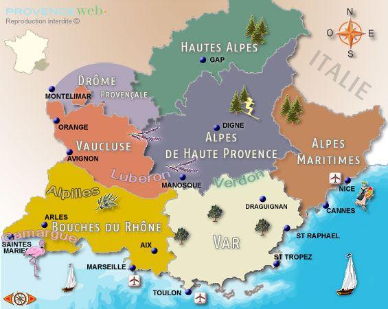 Découvrez les départements de Provence et Côte d'azur (France), que cela soit en bord de mer, sur la côte d'Azur ou dans l'authentique Provence de l'intérieur.