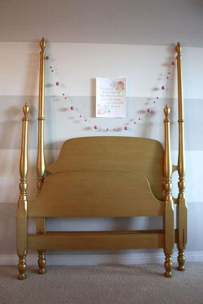 Beautiful gold painted headboard and footboard that's perfect for any princess!