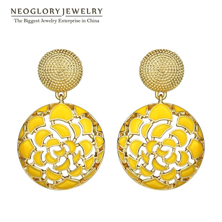 Indian Jewelry Yellow Round Bohemian Vintage Enamel Statement Drop Dangle Earrings Punk For Women  New Gifts
