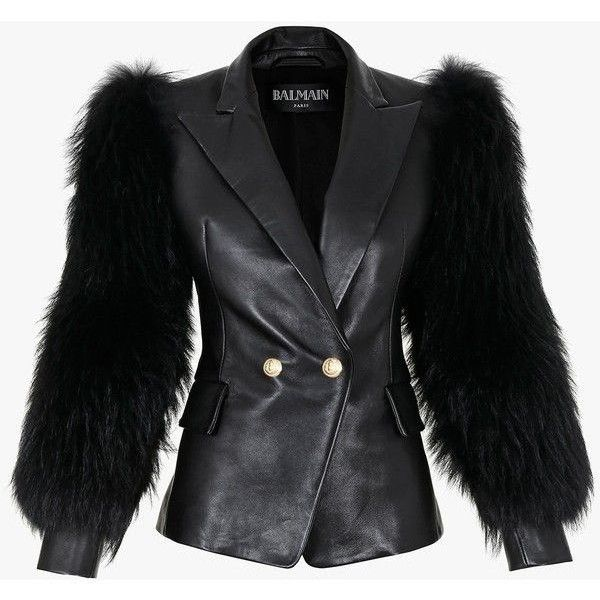 Balmain Fur sleeves leather jacket ❤ liked on Polyvore featuring outerwear, jackets, balmain, real leather jacket, fur jacket, sleeve jacket and black jacket
