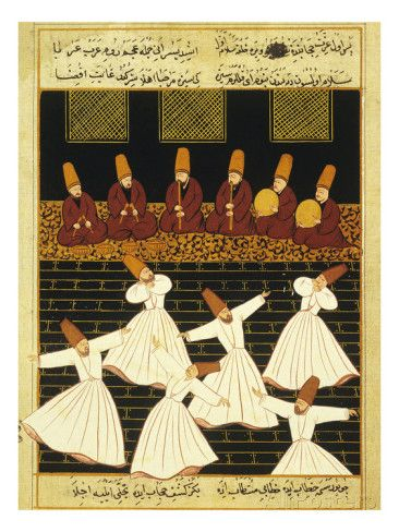 Konya Whirling Dervishes Ritual, 16th Century, Ottoman Miniature of the Anatolian School Lámina giclée en AllPosters.es