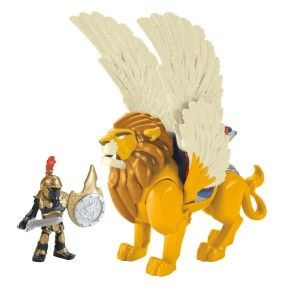 King Leonidis Press button-lion's wings flip open, his head lunges forward and his mouth opens!Includes Imaginext King Leonidis figure, crown helmet, sword, shield and lion with removable armor. http://bit.ly/1s8J3oc