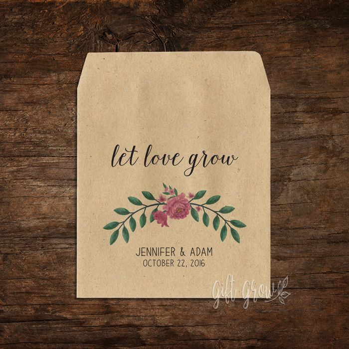 Garden Floral Pink Peony Bouquet Wedding Seed Packets