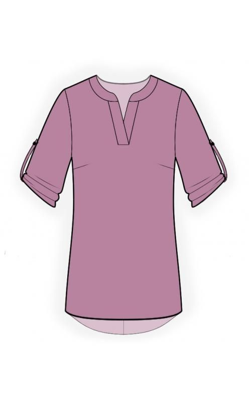 Tunic  - Sewing Pattern #4499 Made-to-measure sewing pattern from Lekala with free online download. Loose fitting, Darts, Yoke, Asymetrical, V neck, Stand collar, 3/4 sleeves, Set-in sleeves, No pockets