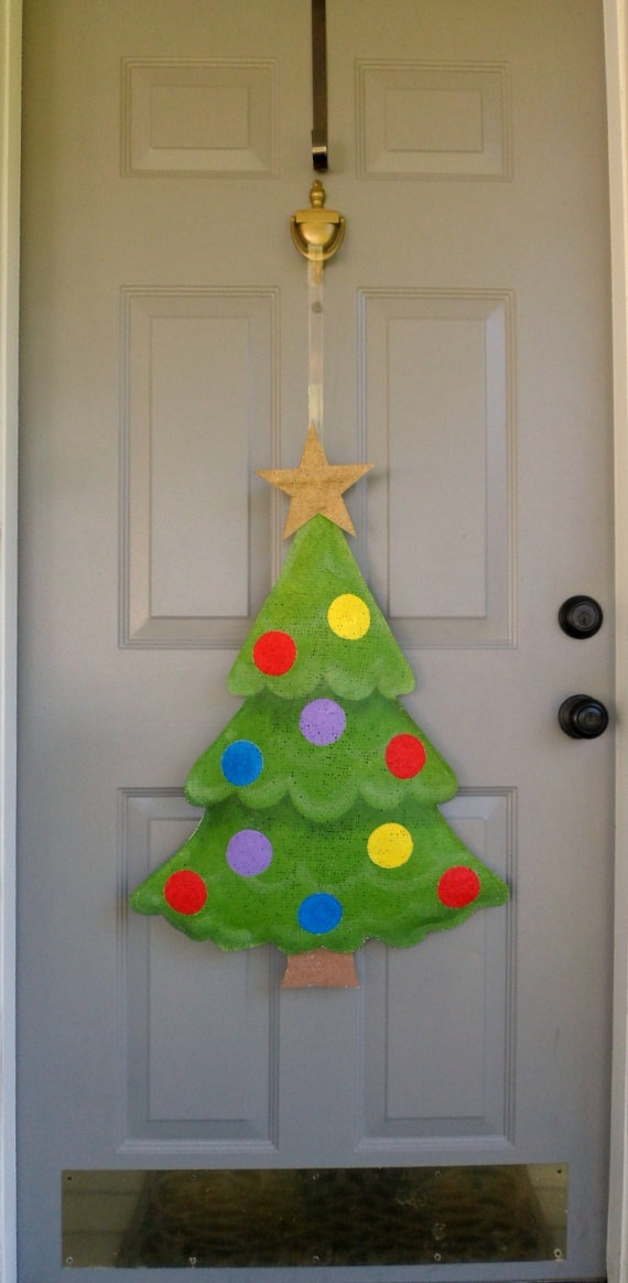 Burlap Craft Ideas For Christmas Part - 50: Christmas Tree Burlap Door And Wall Hanger By AllUniqueThings, $40.00