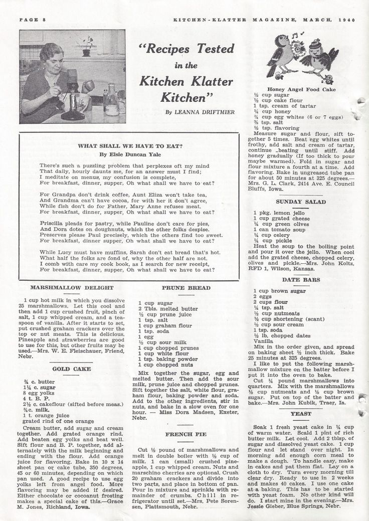 Kitchen Klatter Magazine, March 1940 - Marshmallow Delight, Gold Cake, Prune Bread, French Pie, Honey Angel Food Cake, Sunday Salad, Date Bars, Yeast