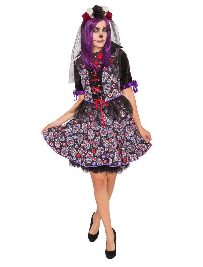 Kleid kurz Totenköpfe Damen HIER kaufen » Deiters  Kleid  Totenköpfe  lila   schwarz 4db79cc932