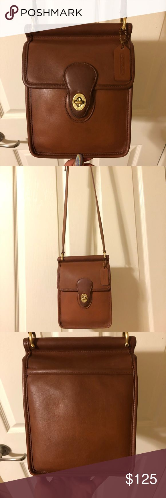 Vintage Coach Willis Murphy Bag 9930 #L4C-9930. Made in the United States in 1994. British tan leather with brass hardware. 7w x 8h x 3d. 44 inch adjustable strap. Cleaned and conditioned thoroughly using Leather Therapy and Skidmore's, no dyes/paint that can crack over time. Ready for another 20 years of use. All my bags are near pristine unless otherwise stated or shown in pix Coach Bags Crossbody Bags