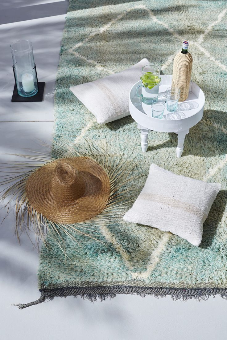 Outdoor spaces are the best place to put your feet up! Vintage 'Backbeat' Beni M'Guild rug available from tigmitrading.com/collections/beni-mguild-rugs/products/backbeat-beni-mguild