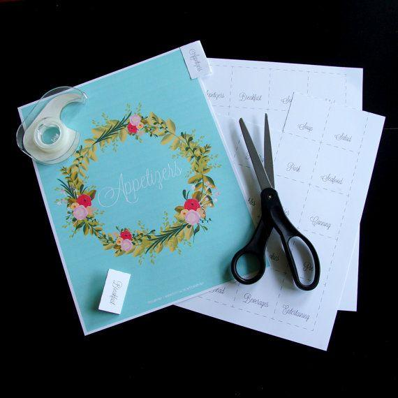Floral Wreath Recipe Binder Tabbed Divider Sheet  by DesignByNay