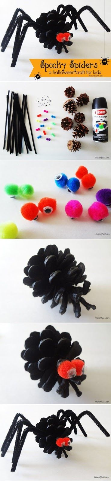303Pixels: an easy halloween spider craft for kids uses only a few inexpensive craft supplies that you probably already have on hand. so cute for decorating your house or front door !