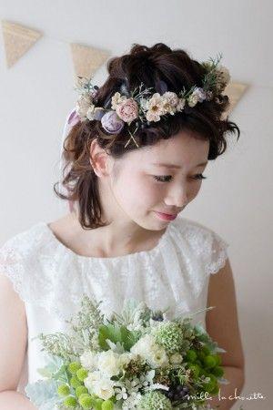 アンティークパープルグリーンナチュラル花冠 corolla#garland#wreath
