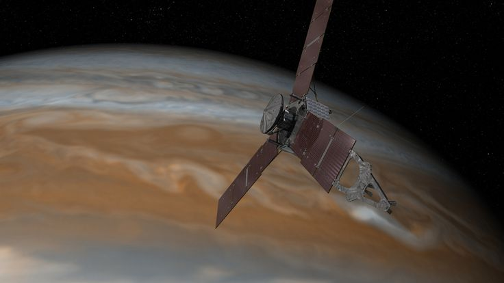 This artist's rendering shows NASA's Juno spacecraft making one of its close passes over Jupiter. Launched in 2011, the Juno spacecraft will arrive at Jupiter in 2016