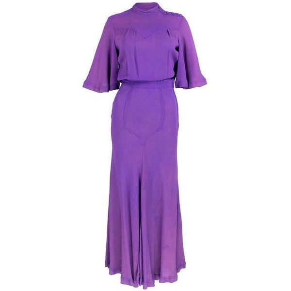 Preowned Ossie Clark 70s Purple Moss Crepe Maxi Dress ($1,200) ❤ liked on Polyvore featuring dresses, maxi dresses, purple, long zipper dress, purple maxi dress, preowned dresses and button maxi dress