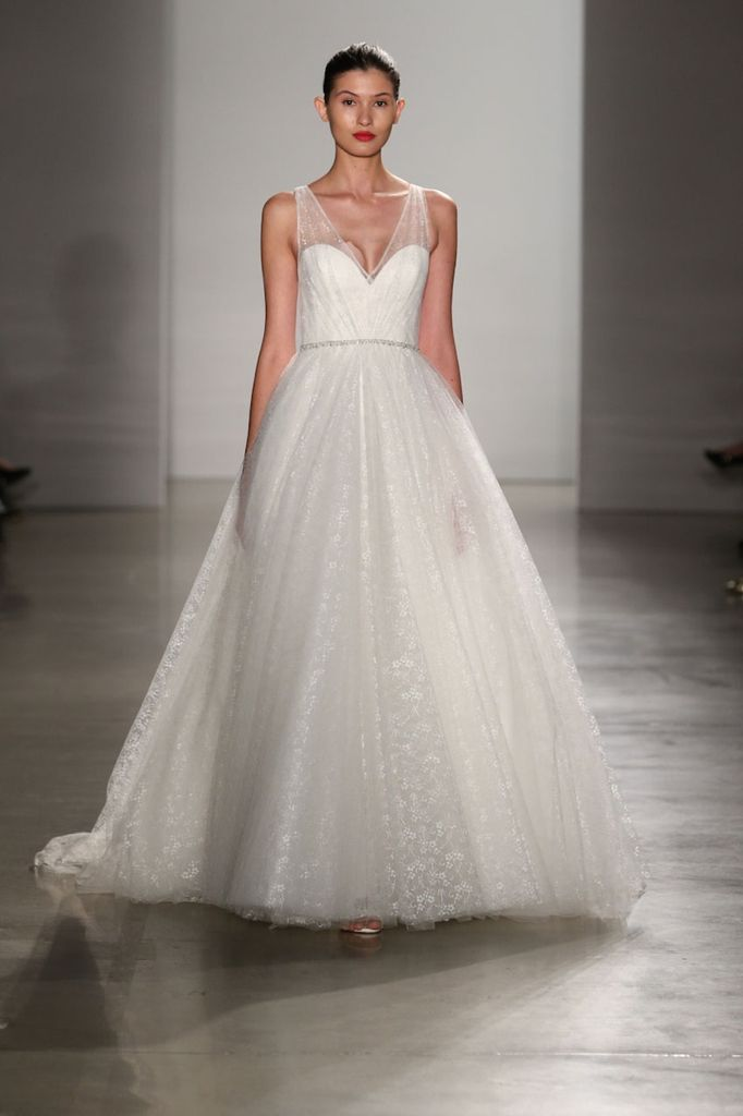 New Christos Fall textured tulle a line ball gown with straps