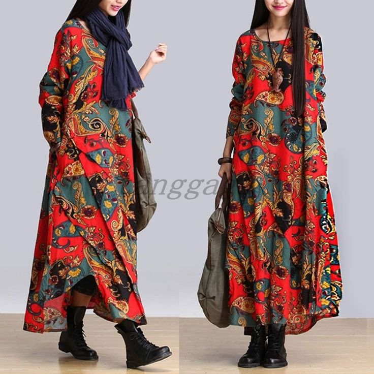 Retro Chinese Style Pieced Women National Mix Long Dress Printing Dresses Summer