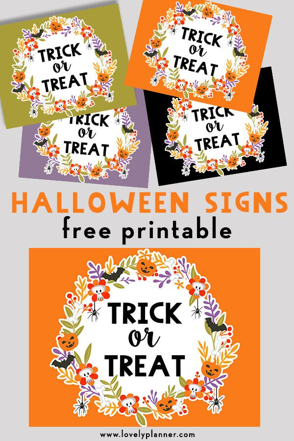 Free Printable Halloween Trick or Treat Signs Halloween