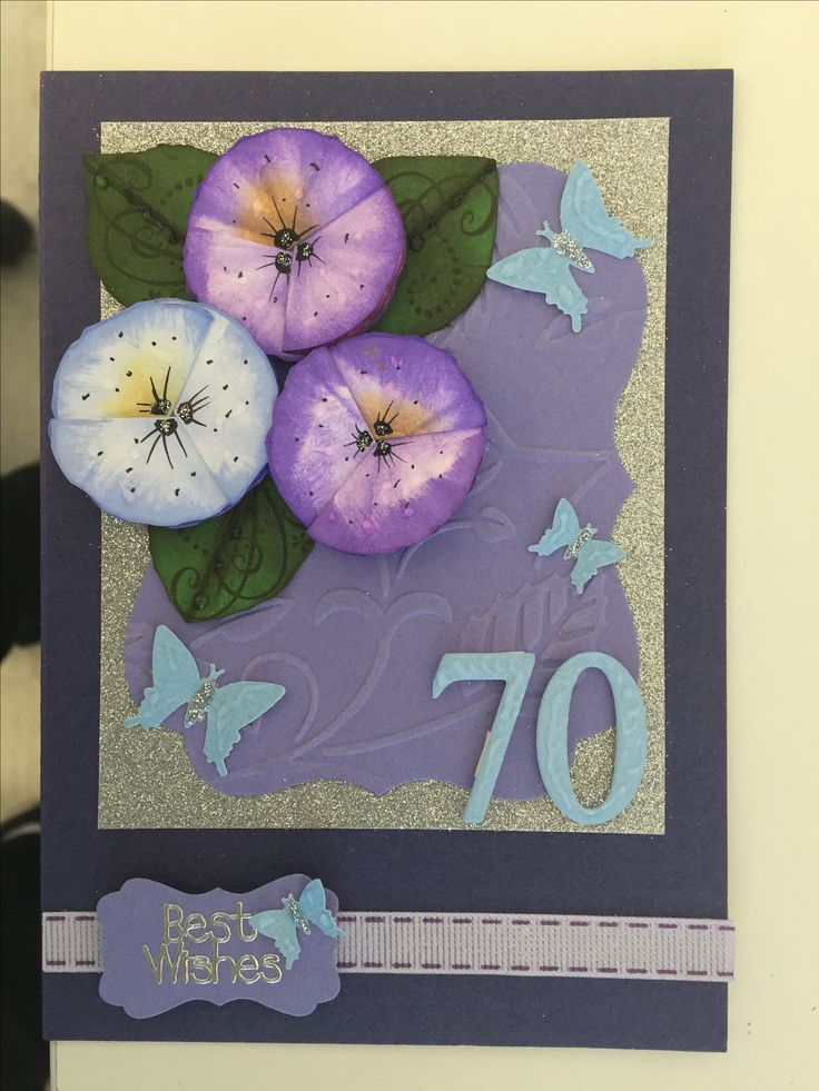 Handmade 70th birthday card. Tim Holts distress Inks - Shaded Lilac - Wilted Violet - Mermaid Lagoon.