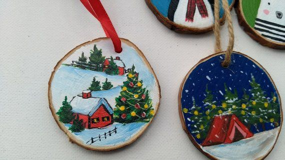 Wood Slice Ornament Wooden Ornament Hand Painted Ornament Etsy Wood Christmas Ornaments Diy Christmas Ornaments Hand Painted Ornaments