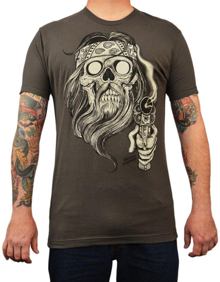 Men's Bearded Outlaw by Rob Dringenberg Motorcycle Tattoo Art T Shirt – moodswingsonthenet