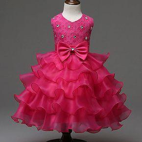 Lace Bowknot Wedding Bridesmaid Party Princess Prom Dress Girls Kids   eBay