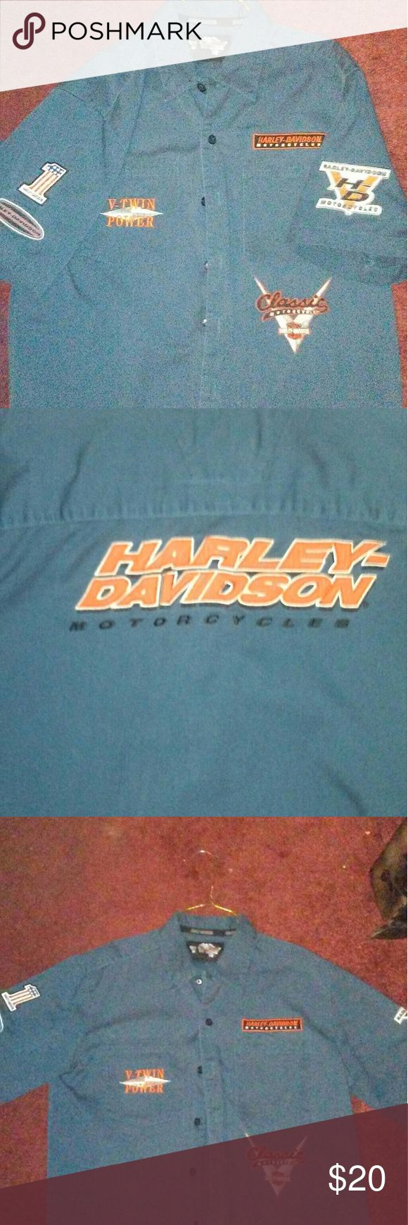 Harley Davidson shop shirt Very nice great for riding gently worn has patches on sleeves and front pockets I love this shirt its real think material but I have so many shop shirts Harley-Davidson Tops Button Down Shirts