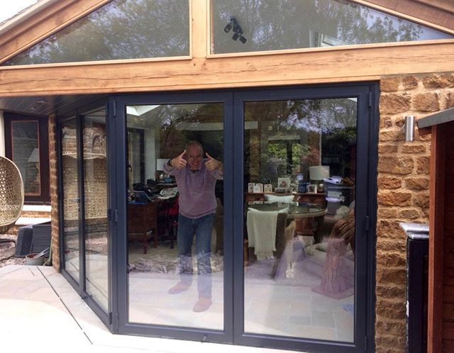 Another Satisfied Customer This Is A 4 Door Bi Fold 13 With A 135 Degree Moving Corner Post With Bi Fold Doo Sliding Folding Doors Bifold Doors Sliding Doors