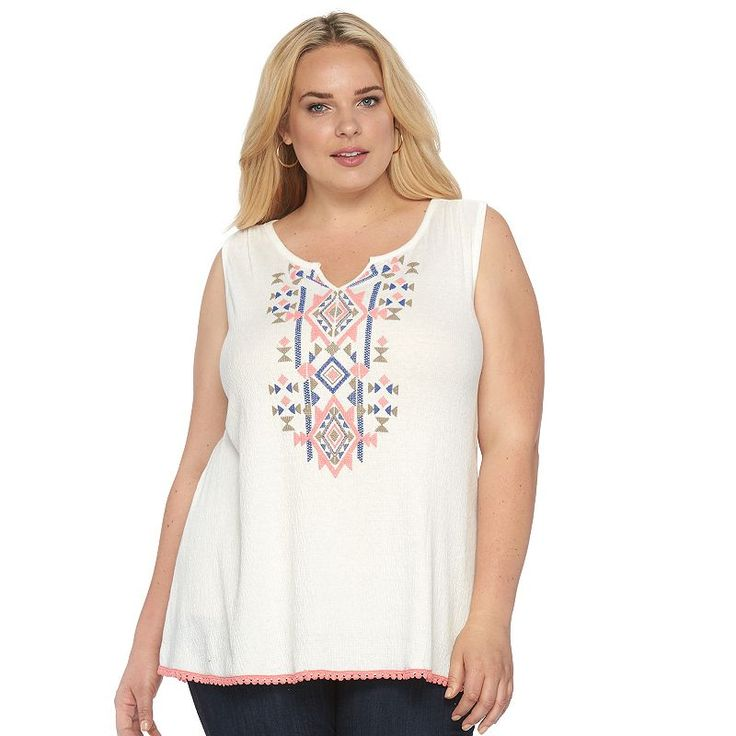 Plus Size French Laundry Southwest Embroidered Tank, Women's, Size: 3XL, White Oth