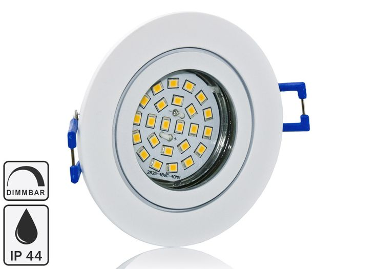 Feuchtraum LED Einbaustrahler Set IP44 Weiß rund mit Marken GU10 LED Spot Nextec 5 Watt Klarglas DIMMBAR