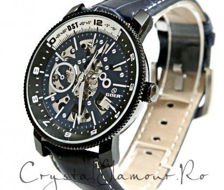 Ceas barbati Goer Aviator Black Automatic - Crystal Glamour