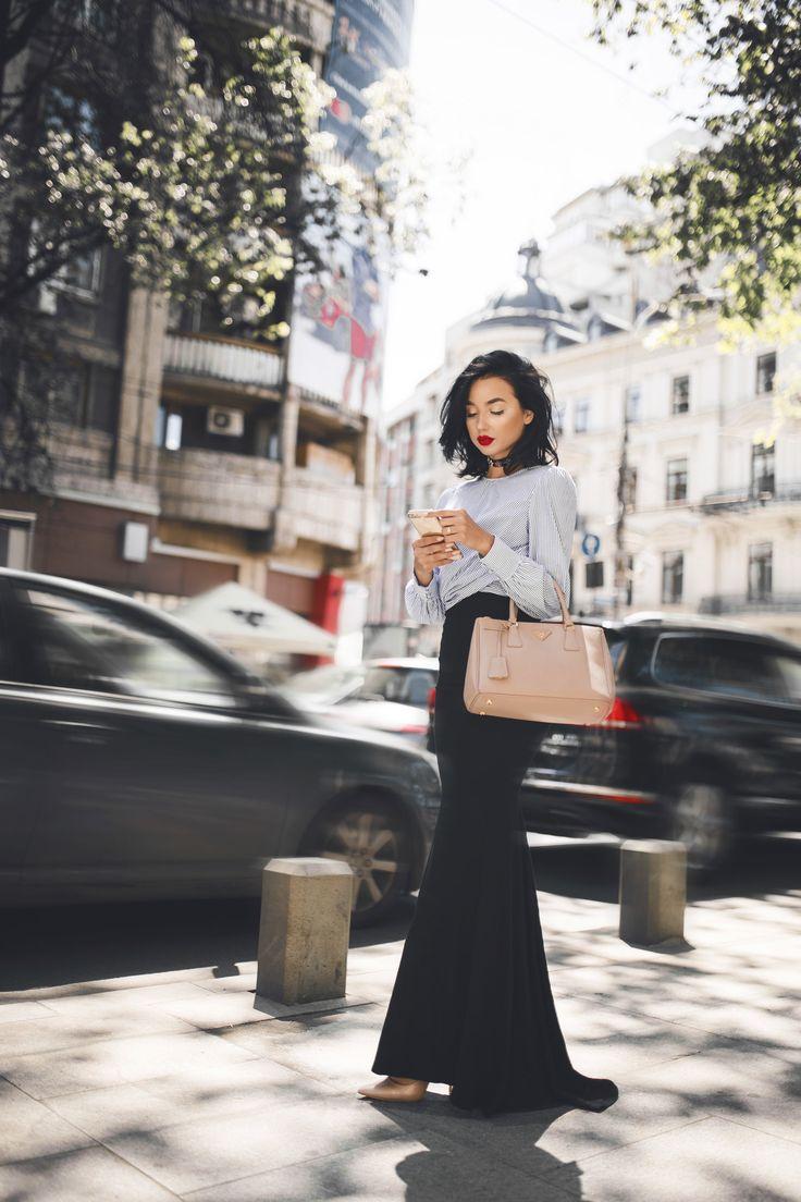 BUCHAREST. Peonies, a bow shirt & sassy street style look. — DYROGUE  Fashion Blogger Diana Rogo Wearing a Zara Top, Mermaid Skirt and Prada bag.
