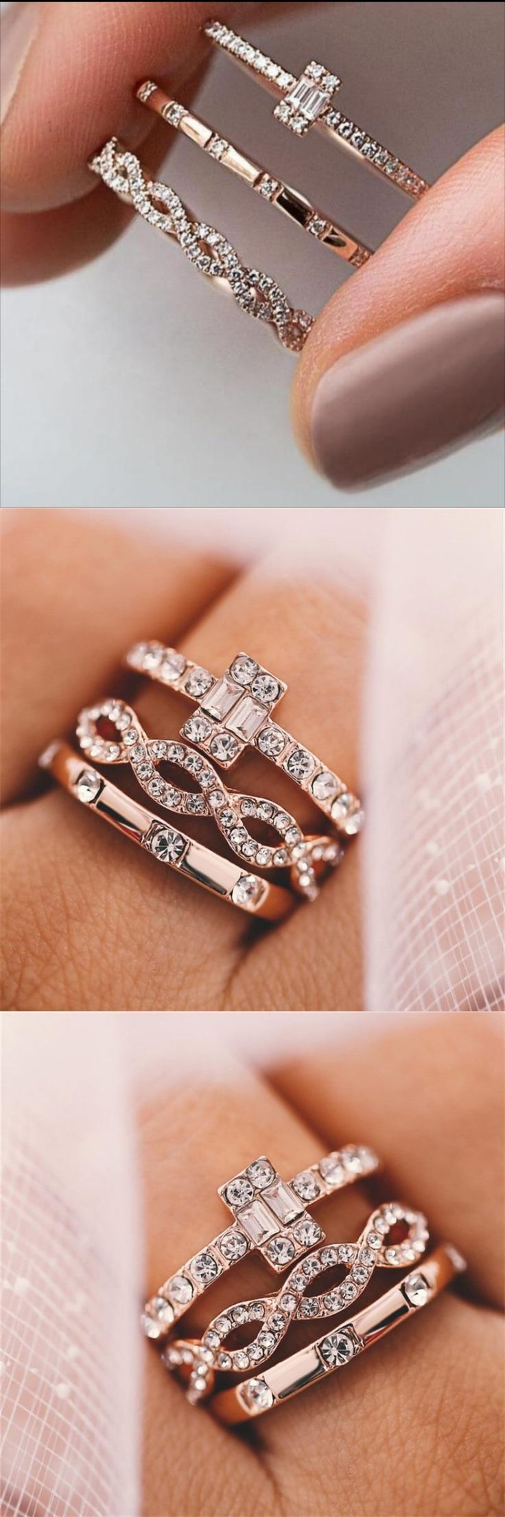 3Pcs/Set Engagement Rings