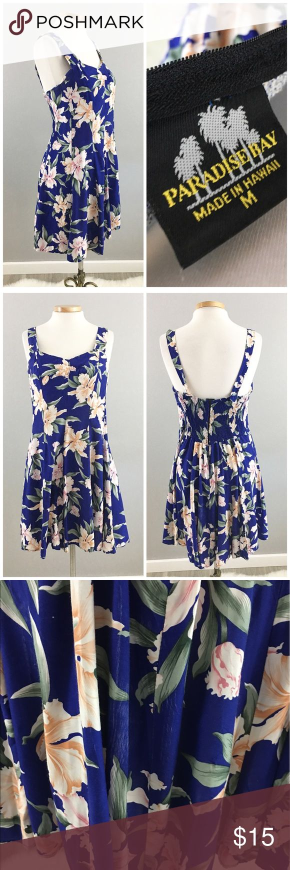 Paradise Royal Blue Hawaiian Print Summer Dress Paradise Royal Blue Hawaiian Print Summer Dress. Size medium with stretch. Dress hits slightly above the knee in length. Thank you for looking at my listing. Please feel free to comment with any questions (no trades/modeling).  •Condition:  VGUC, no hole or stains. There are a couple spots on the dress that look like there is faded lines. Could be colored in with a fabric color. (Pictured).   25% off all Bundles or 3+ items! Reasonable offers…