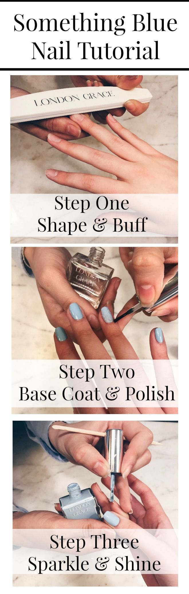 Hello Hens! Today we have collaborated with super fancy nail salon London Grace to bring you a hen party manicure tutorial. The 'Some Thing Blue' nail tutorial will teach you how to create this pretty, feminine & fresh look using cool blue tones with a fun pop of glitter. Perfect for a bride to be celebrating her hen party! This step by step tutorial will have your nails buffed and polished to perfection!  #HenParty #HenPartyIdeas #HenPartyManicure #Manicure #nailtutorial