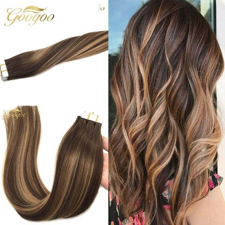 Googoo Multi Colored Tape In Hair Dark Brown 4 fade to Caramel Blonde 27 mixed Brown 16inch 20pcs/50g Glue in Balayage Human Hair Extensions -- This is an Amazon Affiliate link. Check out the image by visiting the link.