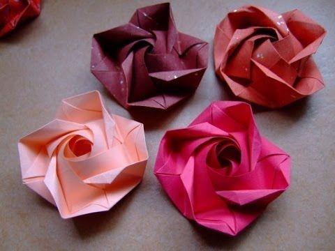 Цветы из бумаги Розы Поделки оригами - YouTube