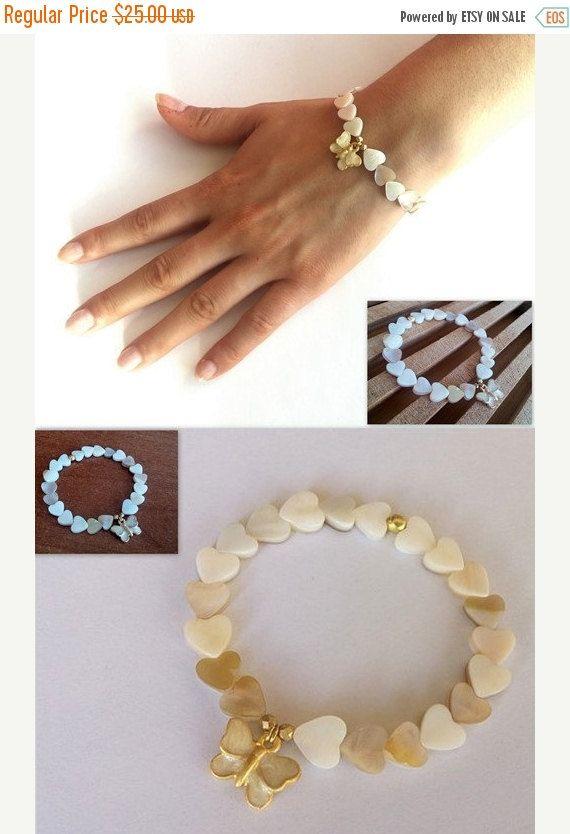 Mothers Day ON SALE Hearts Bracelet, Mother of Pearl Bracelet, Elastic Bracelet, Christmas Gift,  Butterfly Charm Bracelet,   Birthday Gift,