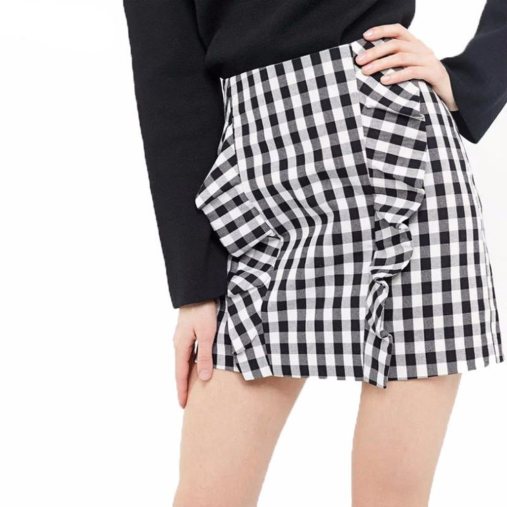Women elegant ruffles plaid checkered skirts faldas mujer back zipper retro ladies fashion streetwear mini skirt