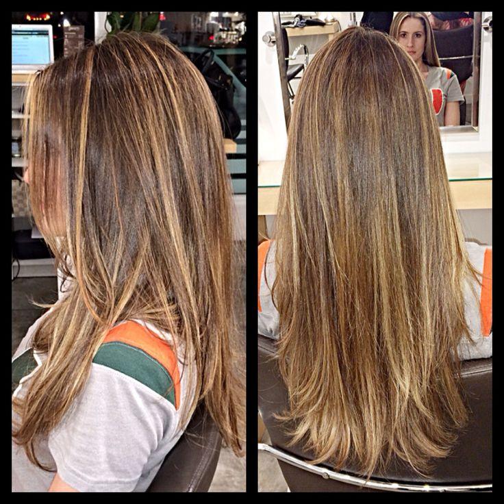 Very natural blond Balayage Highlights on Jennifer. Tish for Gleam Hair Studio Miami