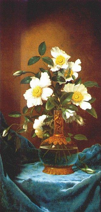Белые розы чероки в вазе с саламандрой, 1883-1895. Мартин Джонсон Хед