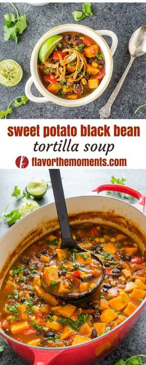 Sweet Potato Black Bean Tortilla Soup is a vegan version of classic tortilla soup that's every bit as hearty! {GF, Veg, V} #ad @FlavortheMoment