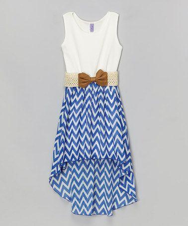 Look at this #zulilyfind! Royal Blue & White Chevron Belted Hi-Low Dress - Girls by Maya Fashion #zulilyfinds