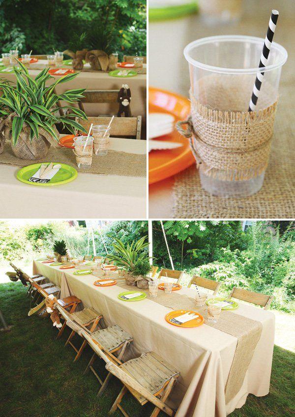 jungle party tablescape decor