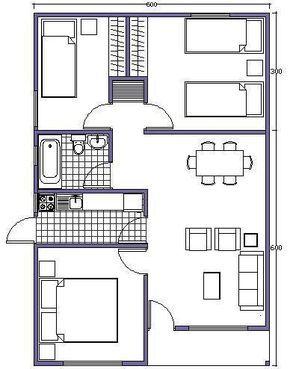 plano de casa de 54m2